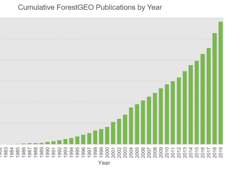 A graph of cumulative ForestGEO publicatioins through 2019
