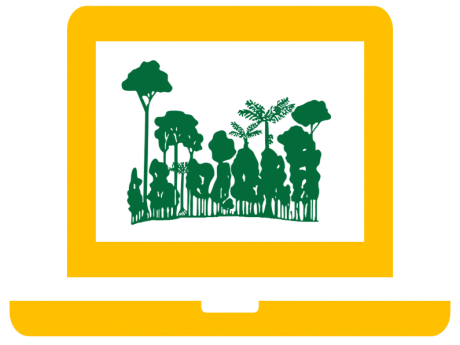 ForestGEO logo superimposed on a graphic of a computer.